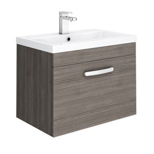Brooklyn 600mm Grey Avola Wall Hung Vanity Unit – Single Drawer